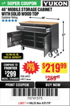 "Harbor Freight Coupon YUKON 46"" MOBILE WORKBENCH WITH SOLID WOOD TOP Lot No. 64023/64012 Expired: 4/21/19 - $219.99"
