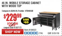 "Harbor Freight Coupon YUKON 46"" MOBILE WORKBENCH WITH SOLID WOOD TOP Lot No. 64023/64012 Expired: 5/31/19 - $229.99"