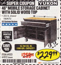 "Harbor Freight Coupon YUKON 46"" MOBILE WORKBENCH WITH SOLID WOOD TOP Lot No. 64023/64012 Expired: 6/30/19 - $229.99"