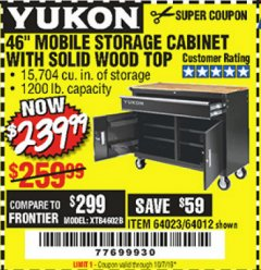 "Harbor Freight Coupon YUKON 46"" MOBILE WORKBENCH WITH SOLID WOOD TOP Lot No. 64023/64012 Expired: 10/1/19 - $239.99"