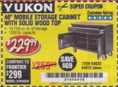 "Harbor Freight Coupon YUKON 46"" MOBILE WORKBENCH WITH SOLID WOOD TOP Lot No. 64023/64012 Expired: 10/15/19 - $229.99"