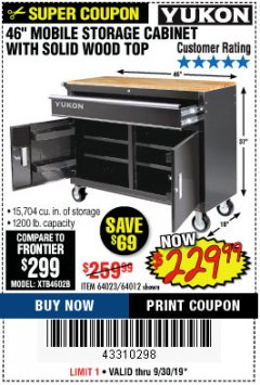 "Harbor Freight Coupon YUKON 46"" MOBILE WORKBENCH WITH SOLID WOOD TOP Lot No. 64023/64012 Expired: 9/30/19 - $229.99"