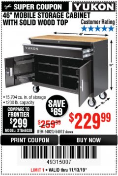 "Harbor Freight Coupon YUKON 46"" MOBILE WORKBENCH WITH SOLID WOOD TOP Lot No. 64023/64012 Expired: 11/13/19 - $229.99"