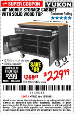 "Harbor Freight Coupon YUKON 46"" MOBILE WORKBENCH WITH SOLID WOOD TOP Lot No. 64023/64012 Valid Thru: 12/31/19 - $229.99"