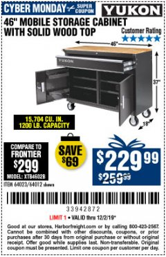 "Harbor Freight Coupon YUKON 46"" MOBILE WORKBENCH WITH SOLID WOOD TOP Lot No. 64023/64012 Expired: 12/2/19 - $229.99"