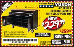"Harbor Freight Coupon YUKON 46"" MOBILE WORKBENCH WITH SOLID WOOD TOP Lot No. 64023/64012 EXPIRES: 6/30/20 - $229.99"