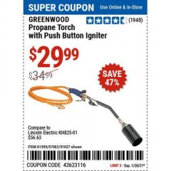 Harbor Freight Coupon PROPANE TORCH WITH PUSH BUTTON IGNITER Lot No. 61595/57062/91037 Valid Thru: 1/29/21 - $29.99