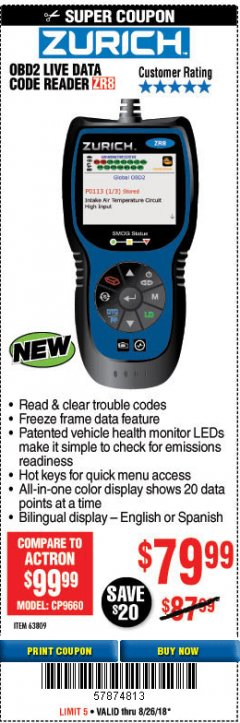 Harbor Freight Coupon ZURICH OBD2 CODE READER WITH LIVE DATA ZR8 Lot No. 63809 Expired: 8/26/18 - $79.99