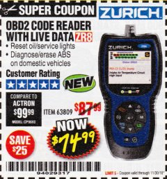 Harbor Freight Coupon ZURICH OBD2 CODE READER WITH LIVE DATA ZR8 Lot No. 63809 Expired: 11/30/18 - $74.99