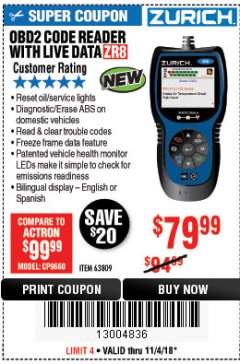 Harbor Freight Coupon ZURICH OBD2 CODE READER WITH LIVE DATA ZR8 Lot No. 63809 Expired: 11/4/18 - $79.99