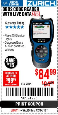 Harbor Freight Coupon ZURICH OBD2 CODE READER WITH LIVE DATA ZR8 Lot No. 63809 Expired: 12/24/18 - $84.99