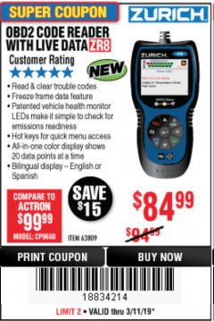 Harbor Freight Coupon ZURICH OBD2 CODE READER WITH LIVE DATA ZR8 Lot No. 63809 Expired: 3/31/19 - $84.99