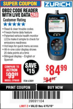 Harbor Freight Coupon ZURICH OBD2 CODE READER WITH LIVE DATA ZR8 Lot No. 63809 Valid Thru: 4/30/19 - $84.99