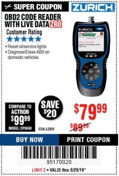 Harbor Freight Coupon ZURICH OBD2 CODE READER WITH LIVE DATA ZR8 Lot No. 63809 Valid: 9/17/19 9/29/19 - $79.99
