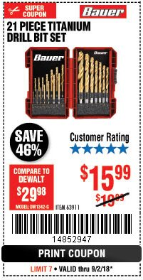 Harbor Freight Coupon BAUER 21 PIECE TITANIUM DRILL BIT SET Lot No. 63911 Expired: 9/2/18 - $15.99