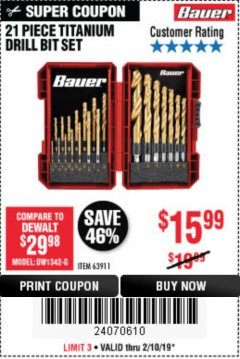 Harbor Freight Coupon BAUER 21 PIECE TITANIUM DRILL BIT SET Lot No. 63911 Expired: 2/24/19 - $15.99