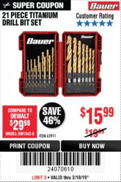 Harbor Freight Coupon BAUER 21 PIECE TITANIUM DRILL BIT SET Lot No. 63911 Expired: 2/10/19 - $15.99