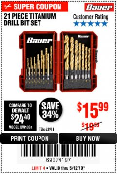 Harbor Freight Coupon BAUER 21 PIECE TITANIUM DRILL BIT SET Lot No. 63911 Expired: 5/12/19 - $15.99