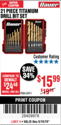 Harbor Freight Coupon BAUER 21 PIECE TITANIUM DRILL BIT SET Lot No. 63911 Expired: 6/16/19 - $15.99