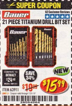 Harbor Freight Coupon BAUER 21 PIECE TITANIUM DRILL BIT SET Lot No. 63911 Expired: 7/31/19 - $15.99