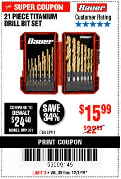 Harbor Freight Coupon BAUER 21 PIECE TITANIUM DRILL BIT SET Lot No. 63911 Expired: 12/1/19 - $15.99