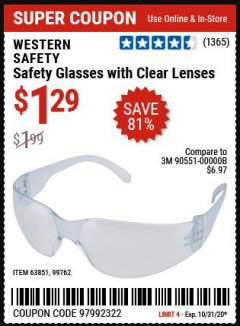 Harbor Freight Coupon CLEAR LENS SAFETY GLASSES Lot No. 63851/99762 Valid: 10/27/20 10/31/20 - $1.29