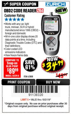 Harbor Freight Coupon ZURICH OBD2 CODE READER ZR4 Lot No. 63808 Expired: 10/21/18 - $34.99