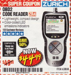 Harbor Freight Coupon ZURICH OBD2 CODE READER ZR4 Lot No. 63808 Expired: 2/28/19 - $44.99