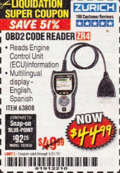 Harbor Freight Coupon ZURICH OBD2 CODE READER ZR4 Lot No. 63808 EXPIRES: 5/31/19 - $44.99