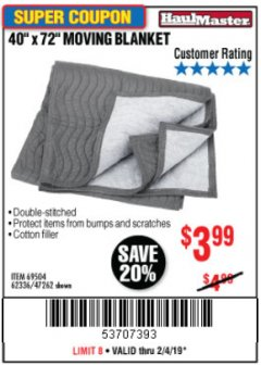 "Harbor Freight Coupon 40"" x 72"" MOVER'S BLANKET Lot No. 47262/69504/62336 Expired: 2/4/19 - $3.99"