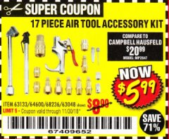 Harbor Freight Coupon 17 PIECE AIR TOOL ACCESSORY KIT Lot No. 63048/63133/61449/64132/68236 Expired: 11/30/18 - $5.99