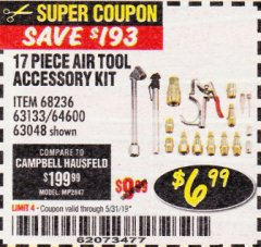 Harbor Freight Coupon 17 PIECE AIR TOOL ACCESSORY KIT Lot No. 63048/63133/61449/64132/68236 EXPIRES: 5/31/19 - $6.99