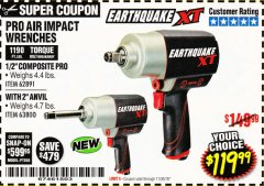 "Harbor Freight Coupon EARTHQUAKE XT 1/2"" PRO AIR IMPACT WRENCHES Lot No. 62891/63800 Expired: 11/30/18 - $119.99"
