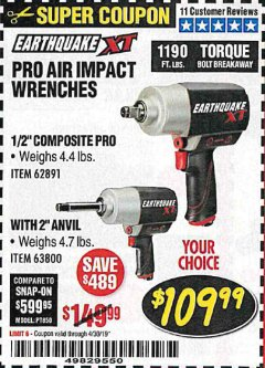 "Harbor Freight Coupon EARTHQUAKE XT 1/2"" PRO AIR IMPACT WRENCHES Lot No. 62891/63800 Valid Thru: 4/30/19 - $109.99"