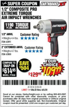 "Harbor Freight Coupon EARTHQUAKE XT 1/2"" PRO AIR IMPACT WRENCHES Lot No. 62891/63800 EXPIRES: 6/30/20 - $109.99"
