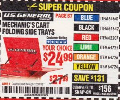 Harbor Freight Coupon MECHANIC'S CART FOLDING SIDE TRAYS Lot No. 64641/64642/62207/64725/64726/64724 Expired: 12/31/18 - $24.99