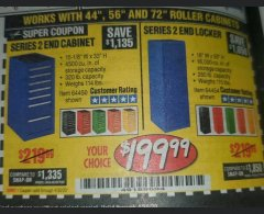 "Harbor Freight Coupon 16"" END LOCKERS Lot No. 64353/64157/64452/64451/64454/64453 Valid Thru: 6/30/20 - $199.99"