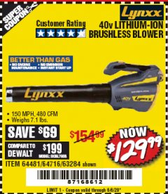Harbor Freight Coupon LYNXX 40 VOLT LITHIUM CORDLESS BRUSHLESS BLOWER Lot No. 64481/63284/64716 EXPIRES: 6/30/20 - $129.99
