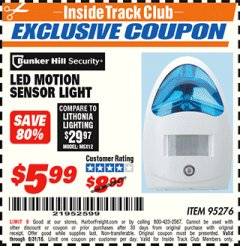 Harbor Freight ITC Coupon LED MOTION SENSOR LIGHT Lot No. 95276 Expired: 8/31/18 - $5.99