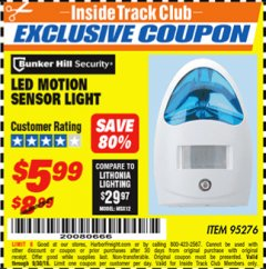 Harbor Freight ITC Coupon LED MOTION SENSOR LIGHT Lot No. 95276 Expired: 9/30/18 - $5.99