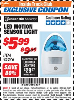Harbor Freight ITC Coupon LED MOTION SENSOR LIGHT Lot No. 95276 Expired: 11/30/18 - $5.99