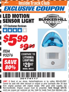 Harbor Freight ITC Coupon LED MOTION SENSOR LIGHT Lot No. 95276 Expired: 3/31/19 - $5.99