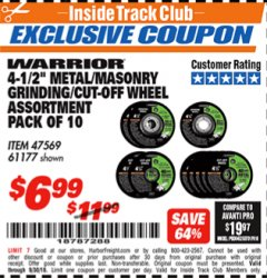 "Harbor Freight ITC Coupon 4-1/2"" METAL/MASONRY GRINDING/CUT-OFF WHEELS ASSORTED SET - PACK OF 10 Lot No. 47569/61177 Expired: 9/30/18 - $6.99"