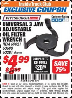 Harbor Freight ITC Coupon UNIVERSAL 3 JAW ADJUSTABLE OIL FILTER WRENCH Lot No. 69021/63690/63281 Expired: 6/30/18 - $4.99