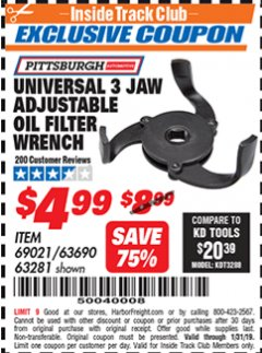 Harbor Freight ITC Coupon UNIVERSAL 3 JAW ADJUSTABLE OIL FILTER WRENCH Lot No. 69021/63690/63281 Expired: 1/31/19 - $4.99