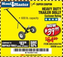 Harbor Freight Coupon HEAVY DUTY TRAILER DOLLY Lot No. 69898/37510/60533 Expired: 1/15/20 - $39.99