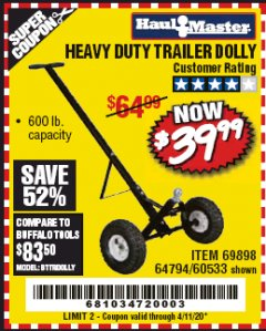 Harbor Freight Coupon HEAVY DUTY TRAILER DOLLY Lot No. 69898/37510/60533 Valid Thru: 6/30/20 - $39.99