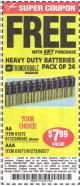 Harbor Freight FREE Coupon 24 PACK HEAVY DUTY BATTERIES Lot No. 61675/68382/61323/61677/68377/61273 Expired: 5/25/15 - FWP