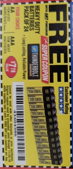 Harbor Freight FREE Coupon 24 PACK HEAVY DUTY BATTERIES Lot No. 61675/68382/61323/61677/68377/61273 Expired: 11/30/18 - FWP