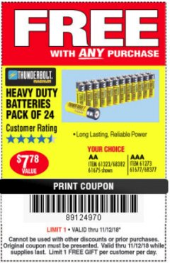 Harbor Freight FREE Coupon 24 PACK HEAVY DUTY BATTERIES Lot No. 61675/68382/61323/61677/68377/61273 Expired: 11/18/18 - FWP